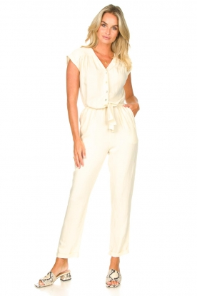 Louizon |  Jumpsuit with tie waistbelt Cyclade | natural