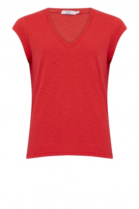 CC Heart | Cotton mix v-neck T-shirt Vera | red