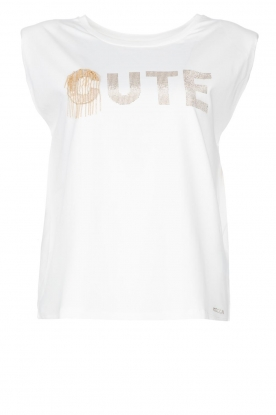 Kocca | Cotton T-shirt with rhinestones Rama | white