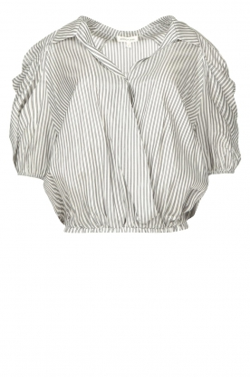 Kocca |  Cropped blouse with silver lurex Amani | black