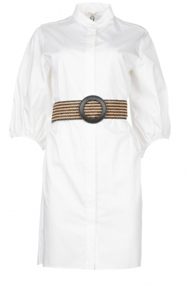 Kocca | Cotton blouse dress with waistbelt Tanushri | white
