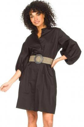 Kocca    Cotton blouse dress with waistbelt Tanushri   black