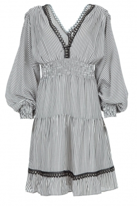 Kocca | Striped dress with balloon sleeves Bikila | black
