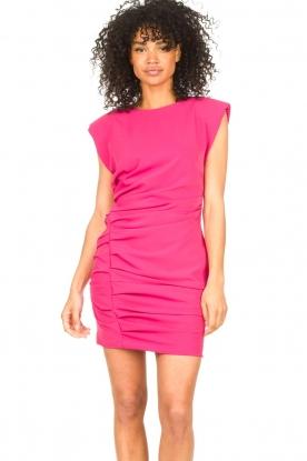 Kocca |  Drapped dress with shoulder pads Rajani | pink