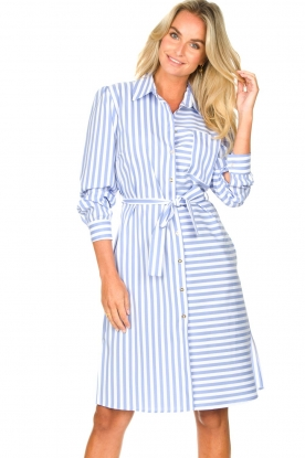 Kocca |  Striped midi dress Kimoni | blue