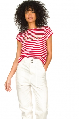 Liu Jo |  Cotton T-shirt with stripes Lily | red