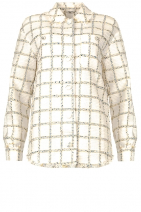 Liu Jo | Checkered bouclé blouse Mae | natural