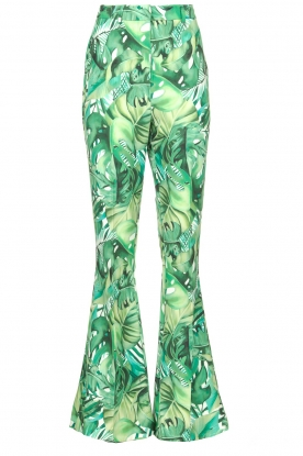 Fracomina |  Flared pants with leaves print Mowi | green