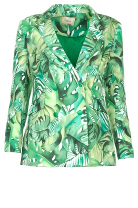 Fracomina | Blazer with leaves print Wooze | green