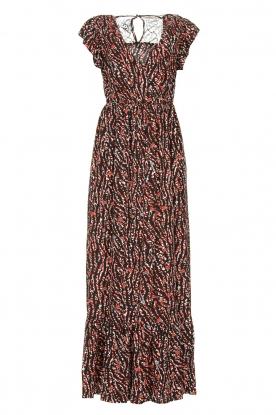 Fracomina | Maxi-jurk met dierenprint Grace | zwart