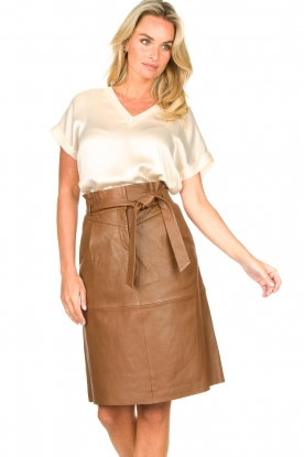 Dante 6 |  Lamb leather skirt Aggy | camel