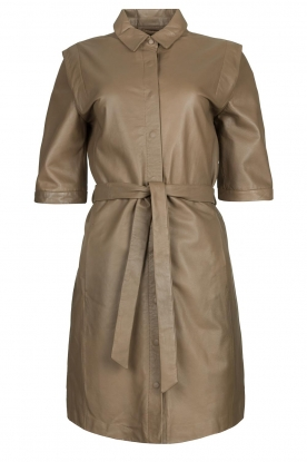 Dante 6 | Lamb leather button-up dress Lyra | brown