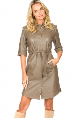 Dante 6 |  Lamb leather button-up dress Lyra | brown