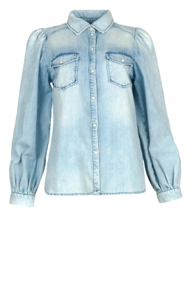 Dante 6 | Denim blouse with puff sleeves Percey | blauw