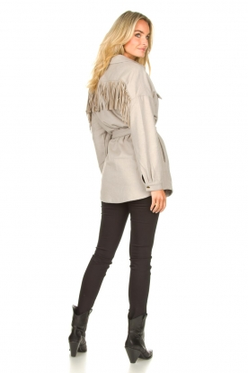 Look Wool coat with fringes Siden