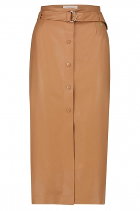 Freebird |   Faux leather midi skirt Bryce | brown