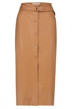Freebird |   Faux leather midi skirt Bryce | brown