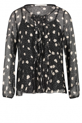 Freebird | Blouse with leopard print Vai | black