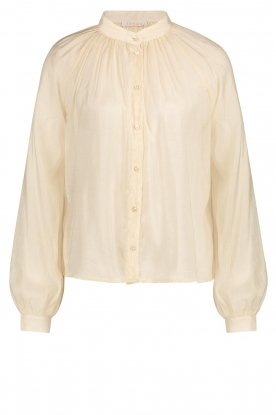 Freebird | Sheer blouse with puff sleeves Frederica | natural