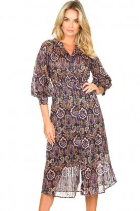 Freebird |  Midi dress with puff sleeves Mae | black