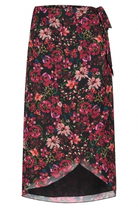 Freebird | Floral midi skirt Zwaan | black