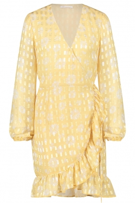 Freebird | Wrap dress with puff sleeves Rosy Jacq | yellow