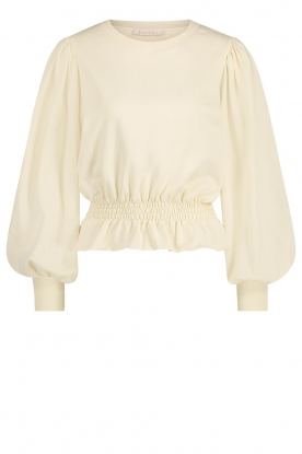 Freebird |  Cotton sweater with balloon sleeves Viccy | white