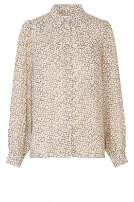 Second Female | Printed blouse Lacing | beige