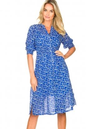 Second Female | Midi-jurk met print Dayla | blauw