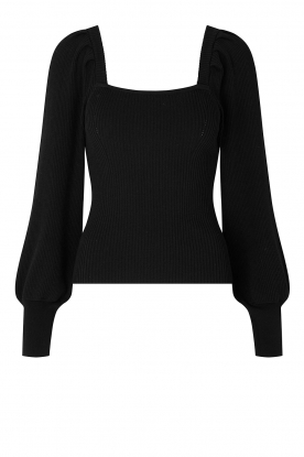 Second Female | Knitted sweater with balloon sleeves Bess | black