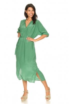 Rabens Saloner |  Midi dress with waistbelt Penny | green
