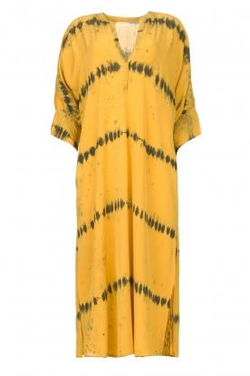Rabens Saloner | Kaftan met tie dye print Vista | geel