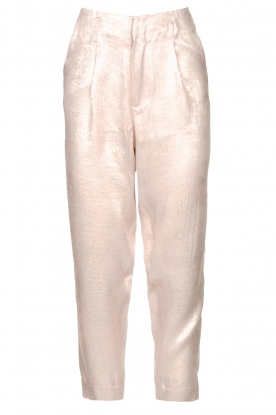 Rabens Saloner | Shiny trousers Raina | pink