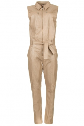 Ibana |  Lamb leather jumpsuit Otto | beige