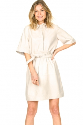 Ibana |  Lambs leather dress Danja | white