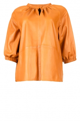Ibana | Leather top with puff sleeves Tanja | cognac