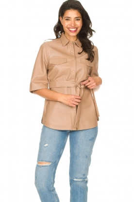 Dante 6 |  Leather blouse with tie belt Boho | natural