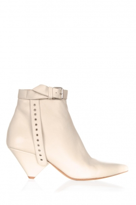 Toral |  Leather ankle boot with buckle detail Ice | beige