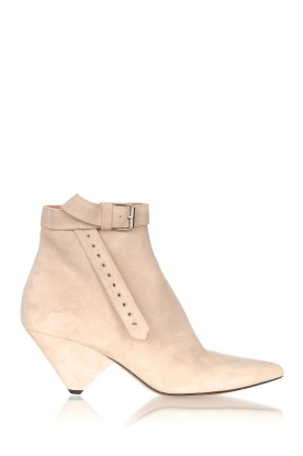 Toral |  Suede ankle boot with buckle detail Ice| beige