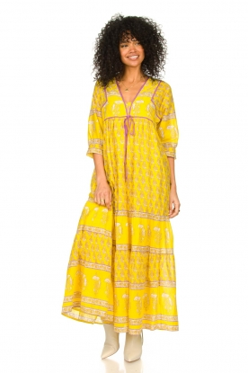 Antik Batik |  Cotton maxi dress with floral print Mori | yellow