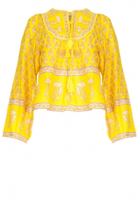 Antik Batik | Cotton blouse with floral print Mori | yellow