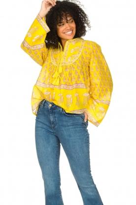 Antik Batik |  Cotton blouse with floral print Mori | yellow