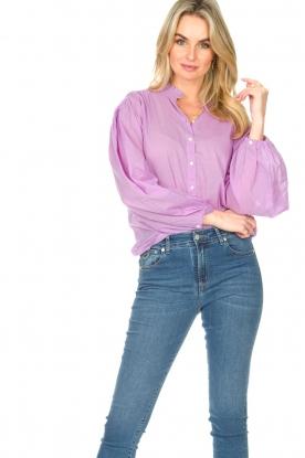 Antik Batik |  Cotton blouse with puff sleeves Olga | purple