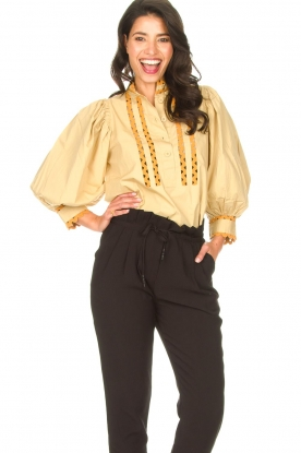 Antik Batik |  Poplin blouse with puff sleeves Mali | yellow