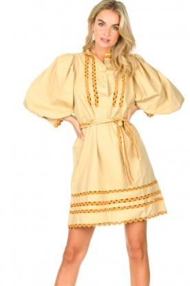 Antik Batik |  Poplin dress with puff sleeves Mali | yellow