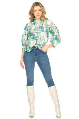 Look Checkered cotton blouse Alama
