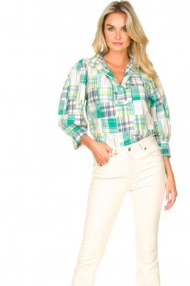 Antik Batik |  Checkered cotton blouse Alama | green