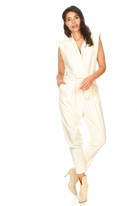 Copenhagen Muse |  Jumpsuit with waistbelt Bliz | white
