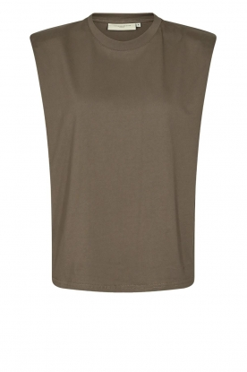 Copenhagen Muse | Sleeveless top with shoulder pads Nat | brown