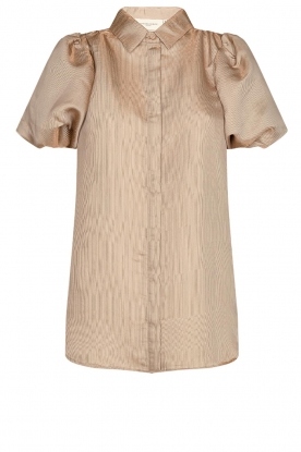 Copenhagen Muse |  Shiny blouse with puff sleeves San | gold
